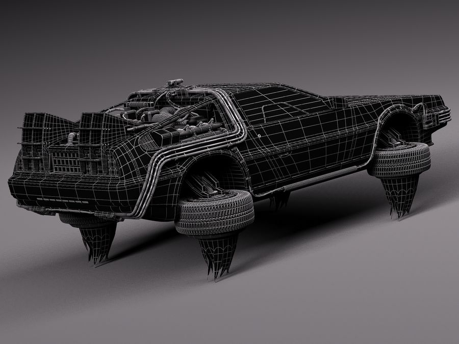 Back To The Future Delorean Episode 2 Future royalty-free 3d model - Preview no. 18