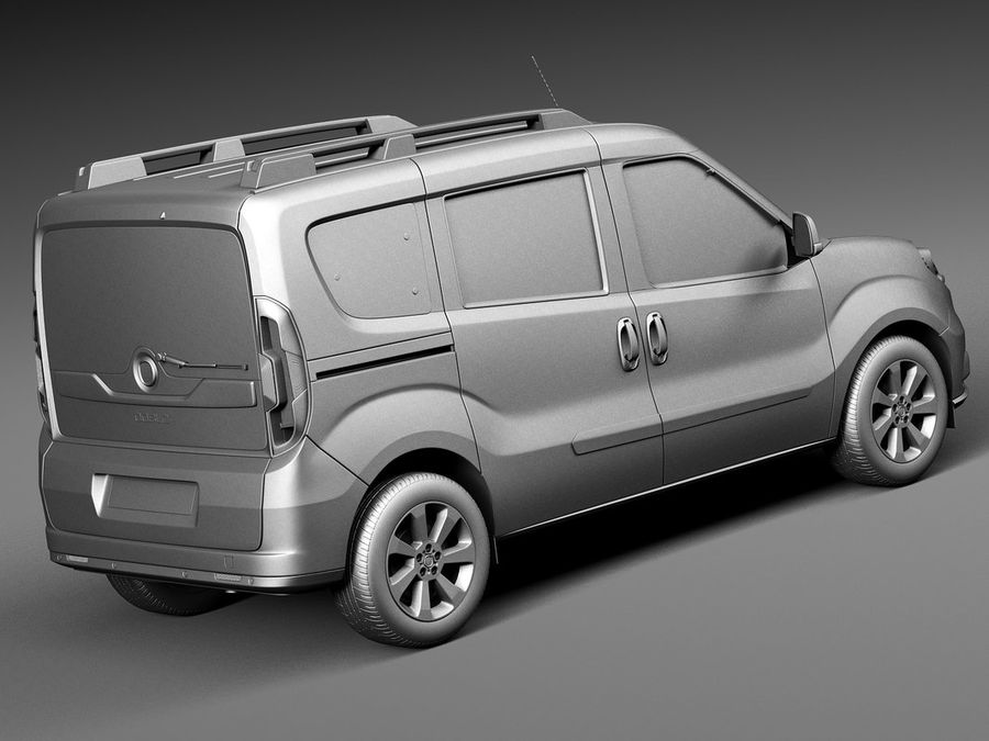 Fiat Doblo Passenger 2015 royalty-free 3d model - Preview no. 12