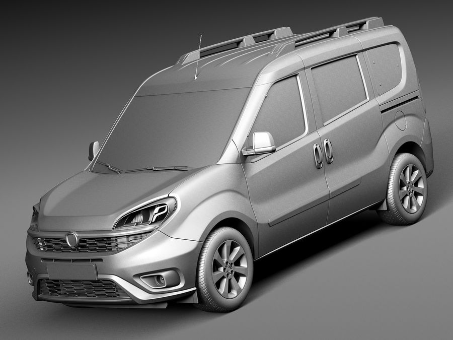 Fiat Doblo Passenger 2015 royalty-free 3d model - Preview no. 9