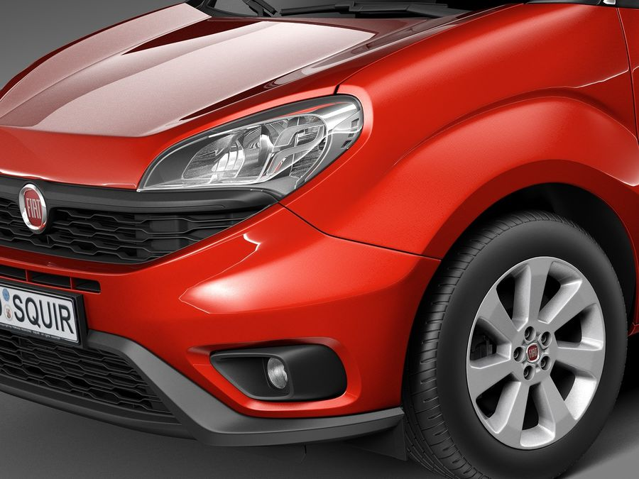 Fiat Doblo Passenger 2015 royalty-free 3d model - Preview no. 3