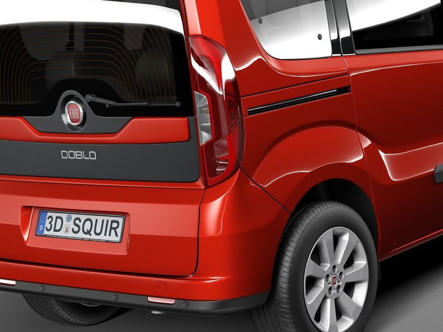 Fiat Doblo Passenger 2015 royalty-free 3d model - Preview no. 4