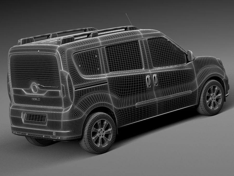 Fiat Doblo Passenger 2015 royalty-free 3d model - Preview no. 14