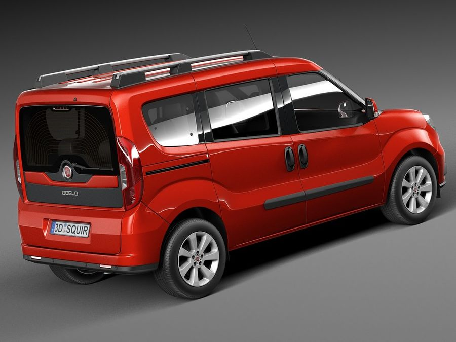 Fiat Doblo Passenger 2015 royalty-free 3d model - Preview no. 5