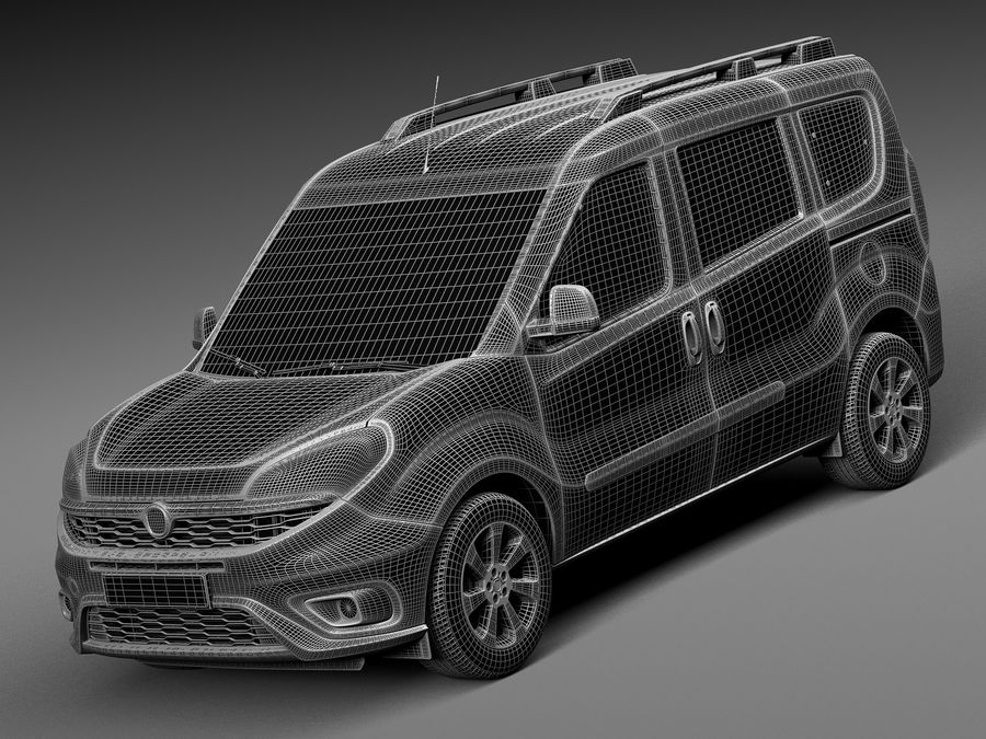 Fiat Doblo Passenger 2015 royalty-free 3d model - Preview no. 13