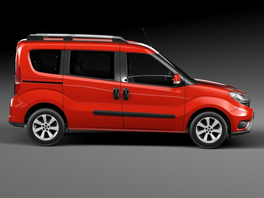 Fiat Doblo Passenger 2015 royalty-free 3d model - Preview no. 7