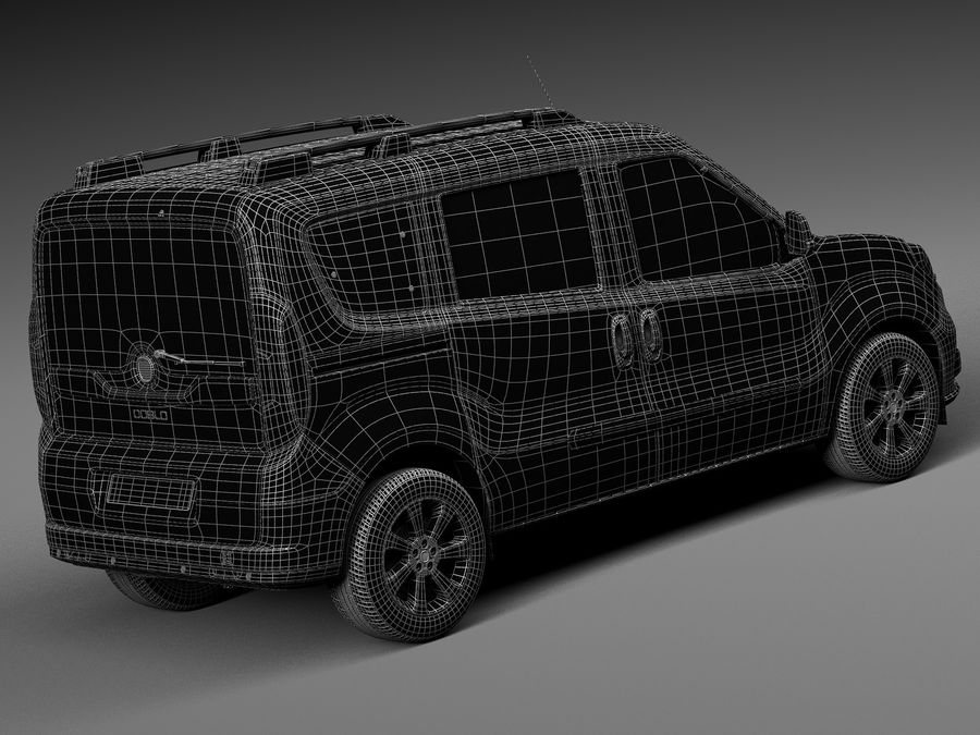 Fiat Doblo Passenger 2015 royalty-free 3d model - Preview no. 16