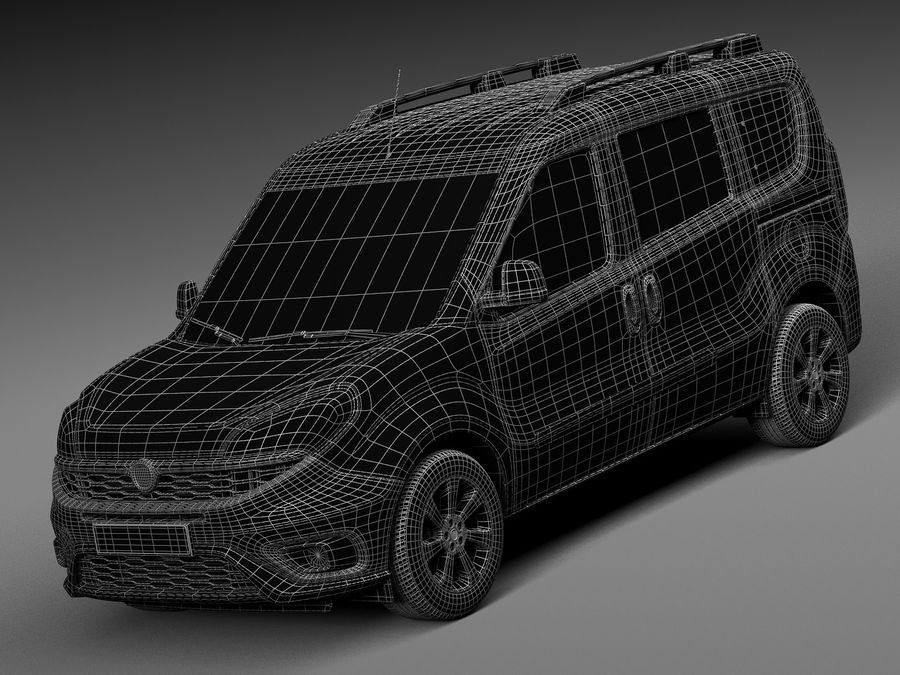 Fiat Doblo Passenger 2015 royalty-free 3d model - Preview no. 15