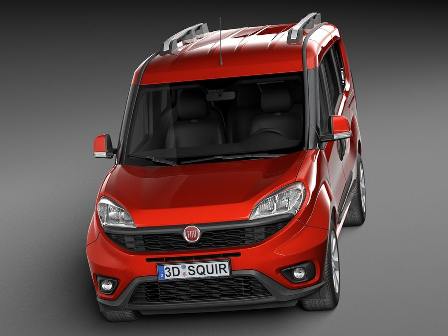 Fiat Doblo Passenger 2015 royalty-free 3d model - Preview no. 2