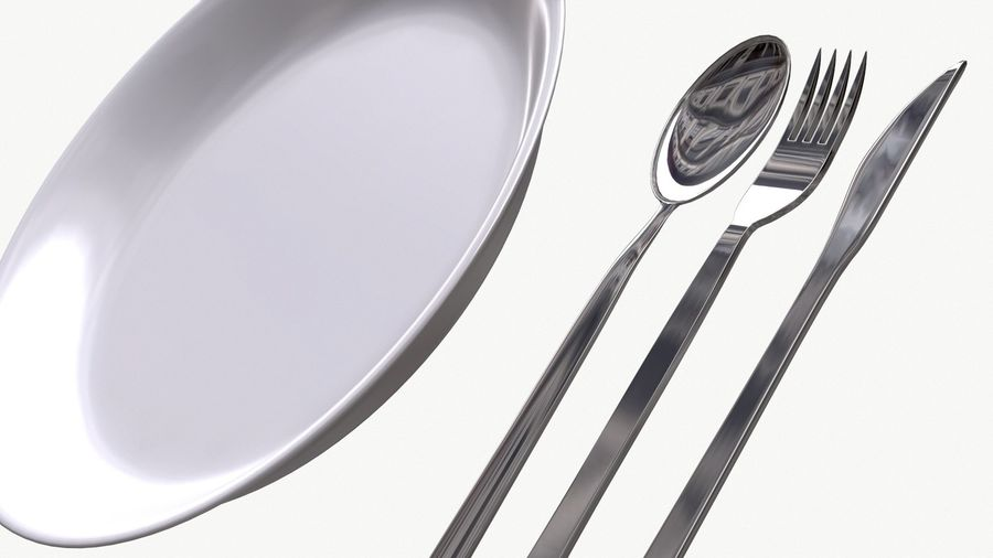 dishes, basic tableware royalty-free 3d model - Preview no. 10