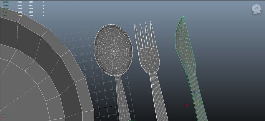 dishes, basic tableware royalty-free 3d model - Preview no. 7