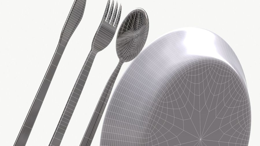 dishes, basic tableware royalty-free 3d model - Preview no. 5