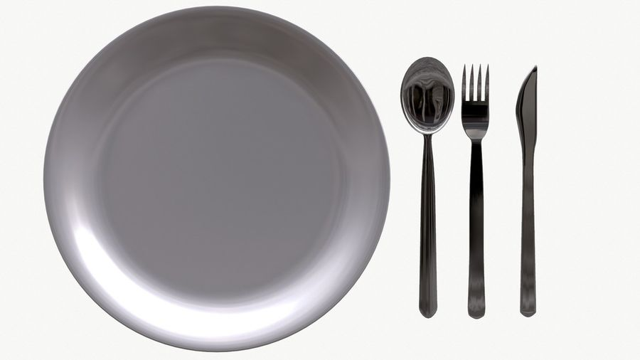 dishes, basic tableware royalty-free 3d model - Preview no. 2