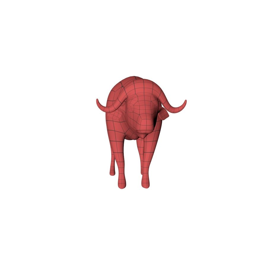 African Buffalo base mesh royalty-free 3d model - Preview no. 3