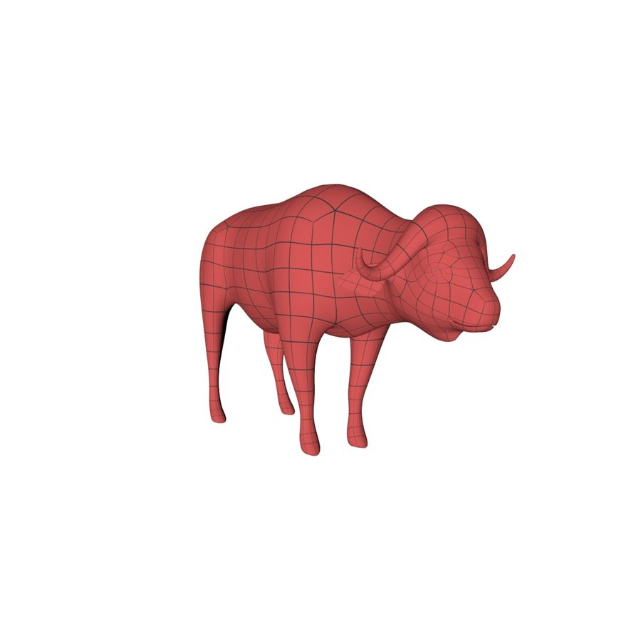 African Buffalo base mesh royalty-free 3d model - Preview no. 2
