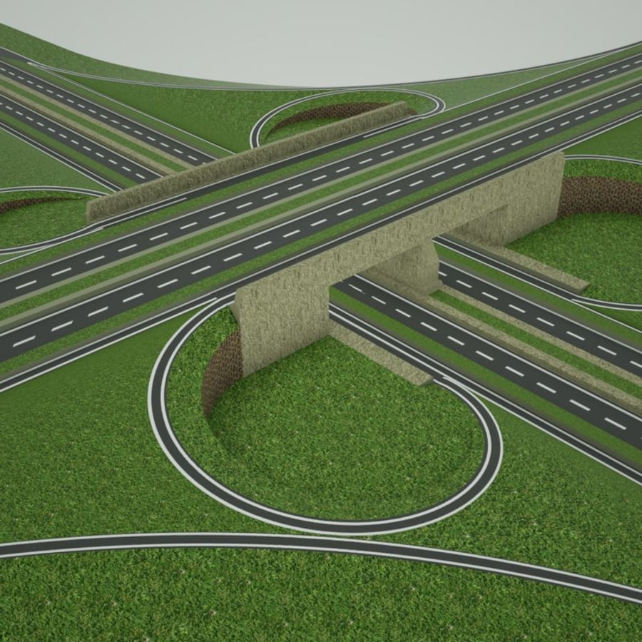 Freeway Interchange royalty-free 3d model - Preview no. 3