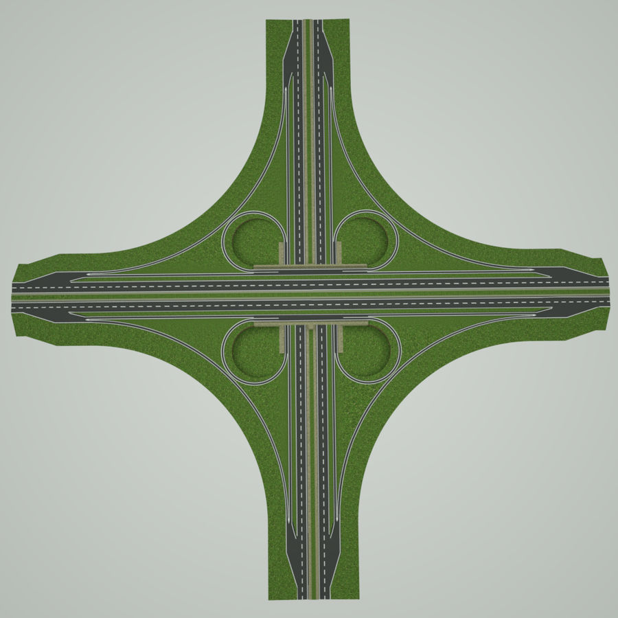Freeway Interchange royalty-free 3d model - Preview no. 6