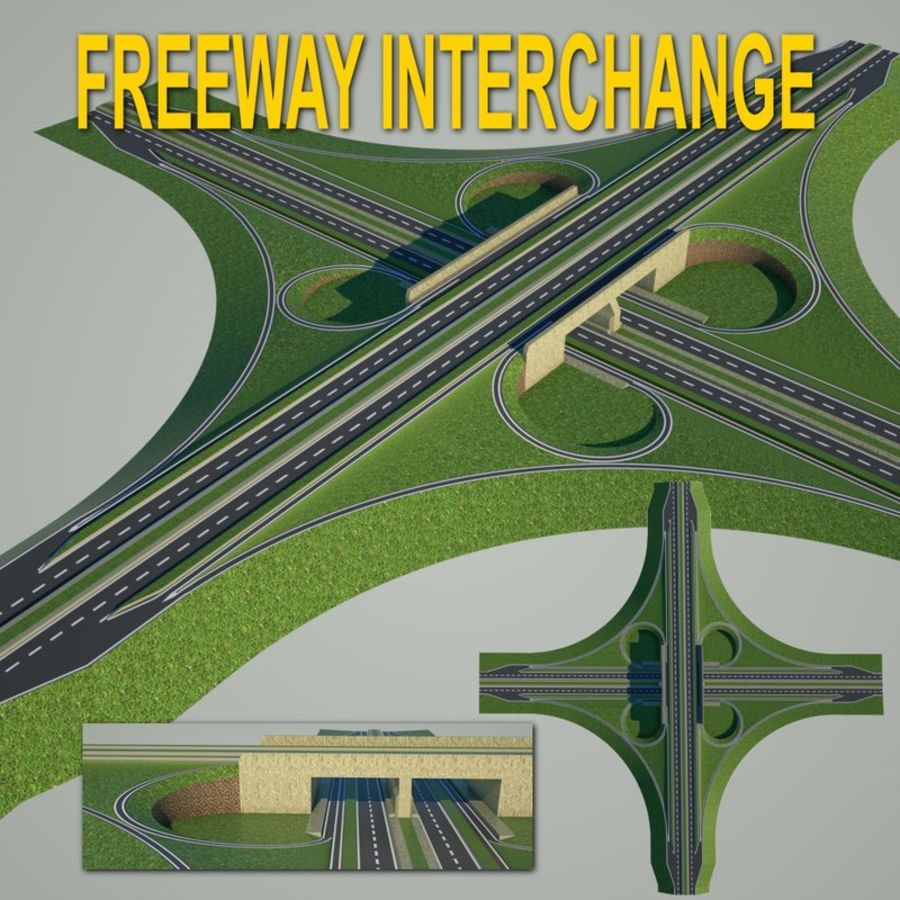 Freeway Interchange royalty-free 3d model - Preview no. 1