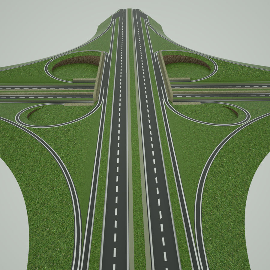 Freeway Interchange royalty-free 3d model - Preview no. 5