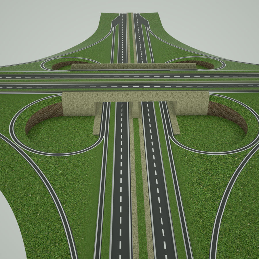 Freeway Interchange royalty-free 3d model - Preview no. 2