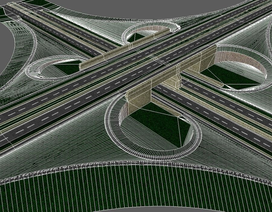 Freeway Interchange royalty-free 3d model - Preview no. 8