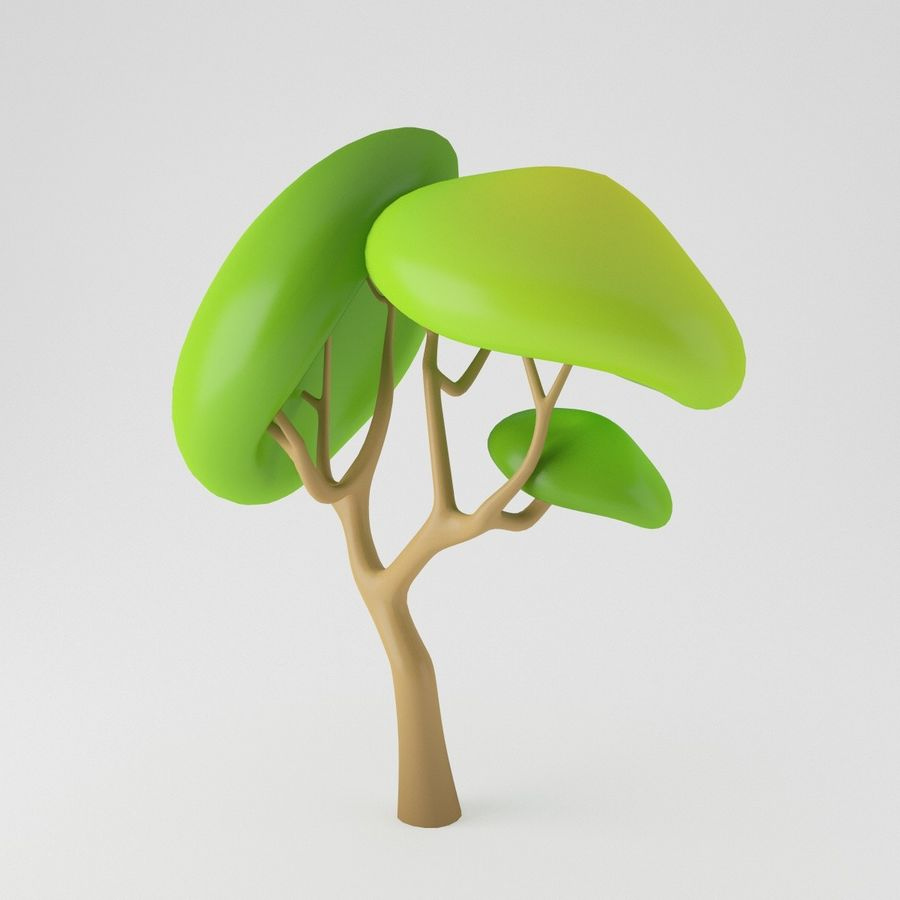 Toon Tree royalty-free 3d model - Preview no. 7