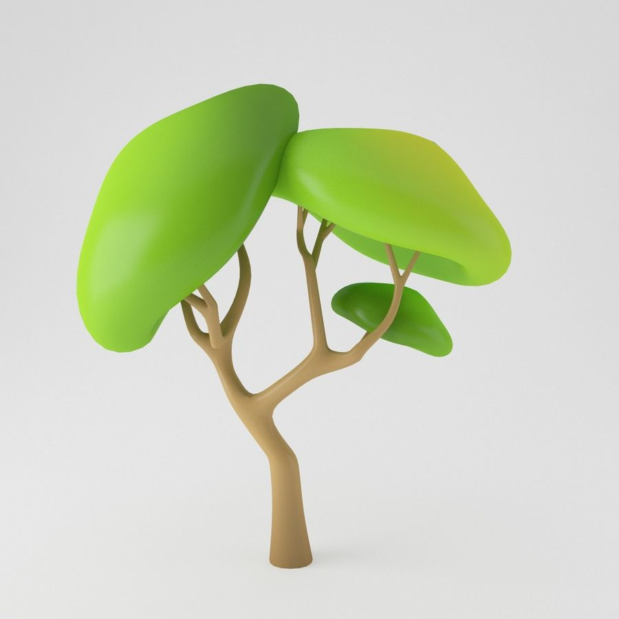 Toon Tree royalty-free 3d model - Preview no. 9
