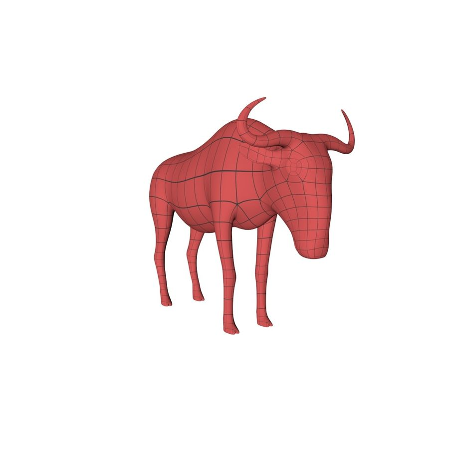 Wildebeest-gnu base mesh royalty-free 3d model - Preview no. 2