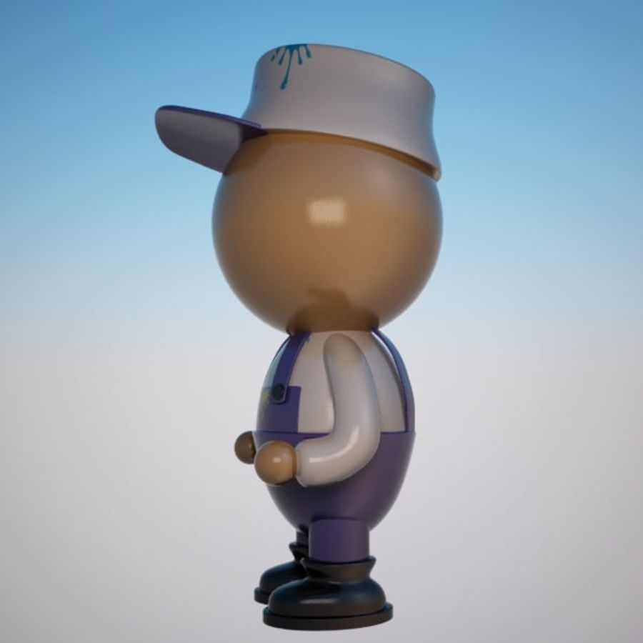 Cartoon Painter Character royalty-free 3d model - Preview no. 5