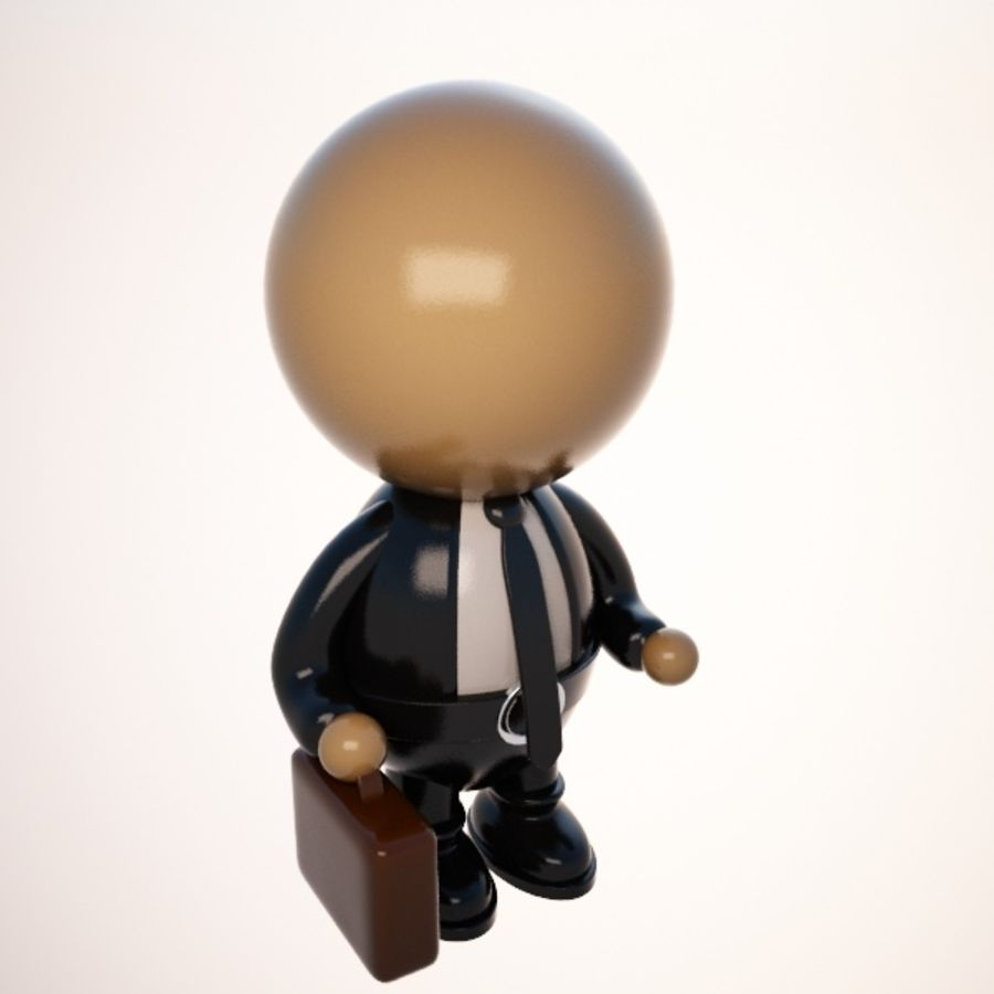 Cartoon Businessman Character royalty-free 3d model - Preview no. 3