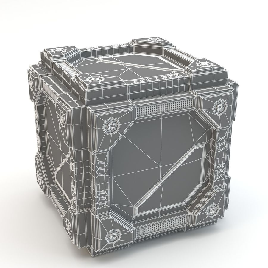 Sci-fi cube royalty-free 3d model - Preview no. 3