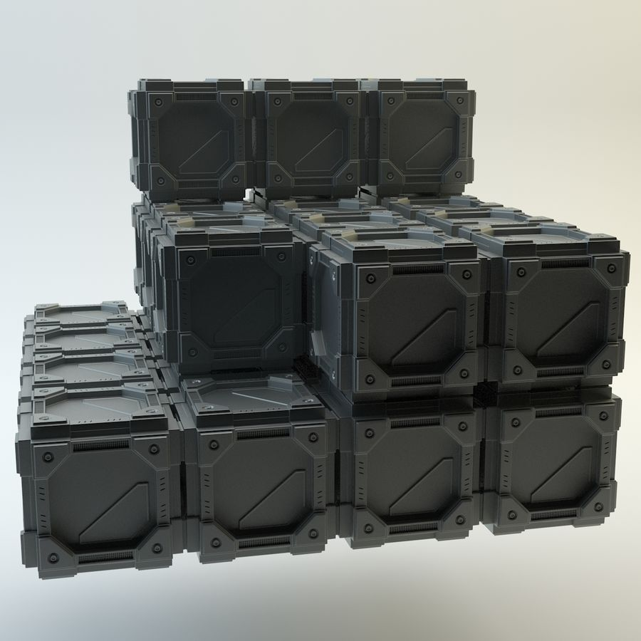 Sci-fi cube royalty-free 3d model - Preview no. 2