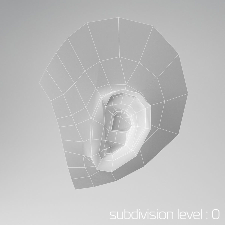 卡通耳朵 royalty-free 3d model - Preview no. 3