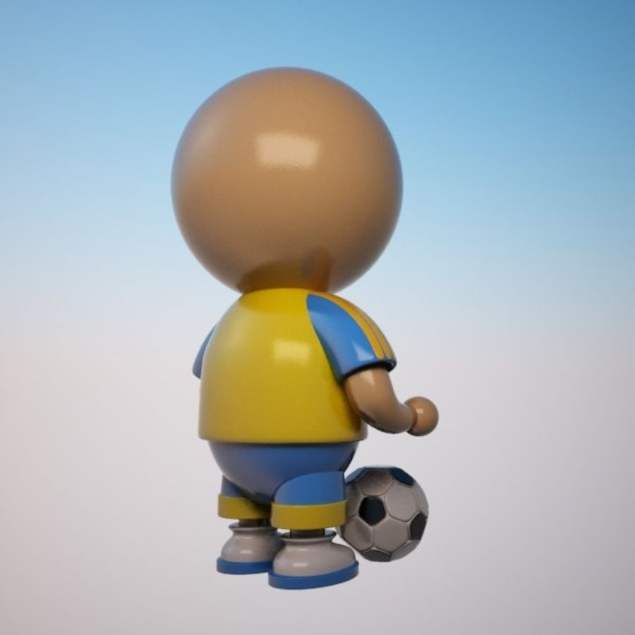 Cartoon Sportsman Character royalty-free 3d model - Preview no. 6