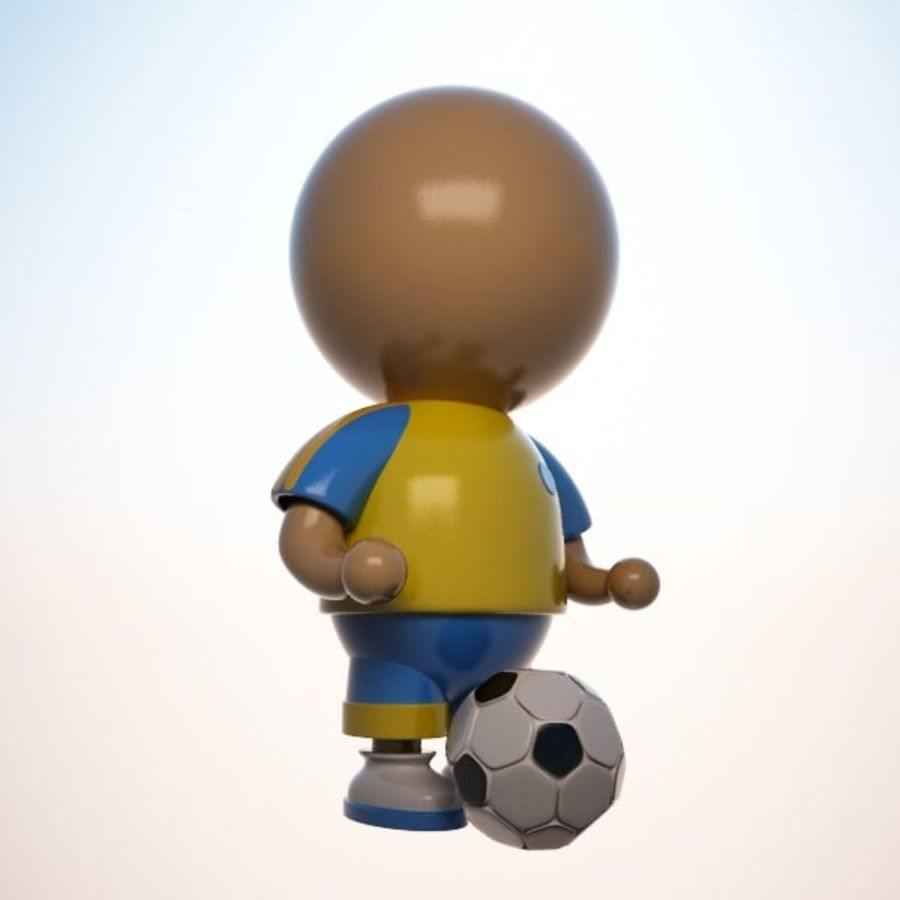 Cartoon Sportsman Character royalty-free 3d model - Preview no. 5