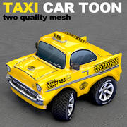 Old Taxi Car Toon sedan 3d model