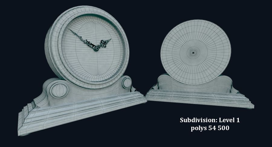 Bureauklok (schoorsteenklokken) royalty-free 3d model - Preview no. 7