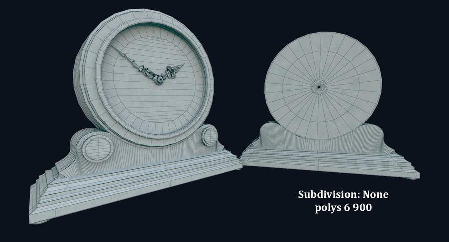 Bureauklok (schoorsteenklokken) royalty-free 3d model - Preview no. 6