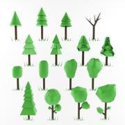 Paquete de árbol de baja poli modelo 3d