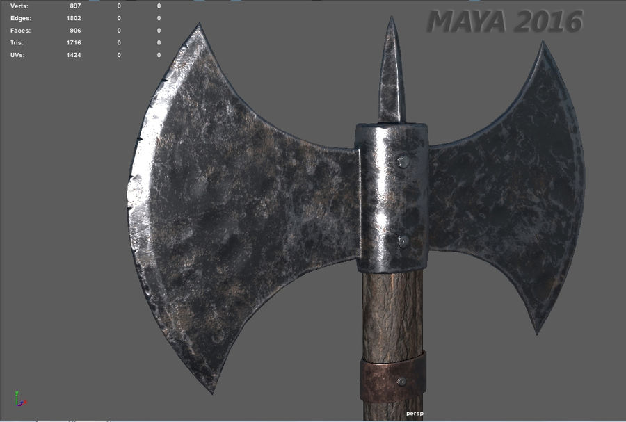 Battle Axe royalty-free 3d model - Preview no. 9
