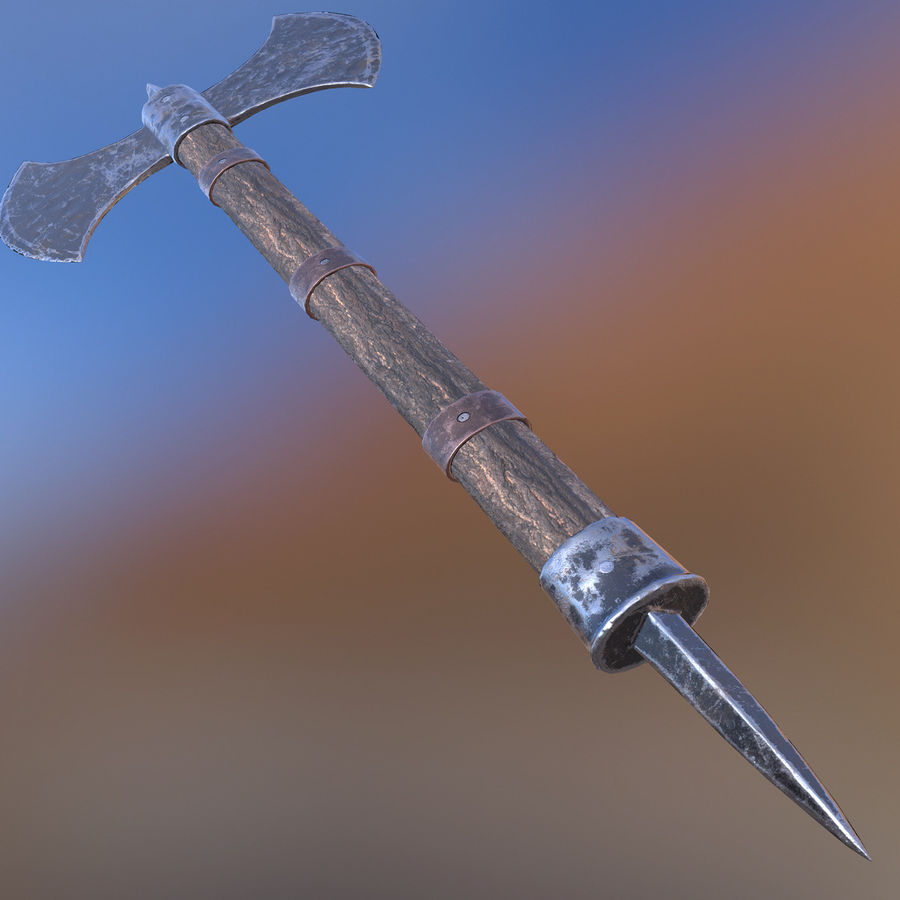 Battle Axe royalty-free 3d model - Preview no. 4