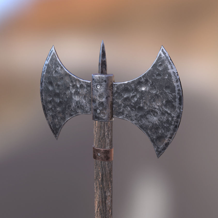 Battle Axe royalty-free 3d model - Preview no. 6