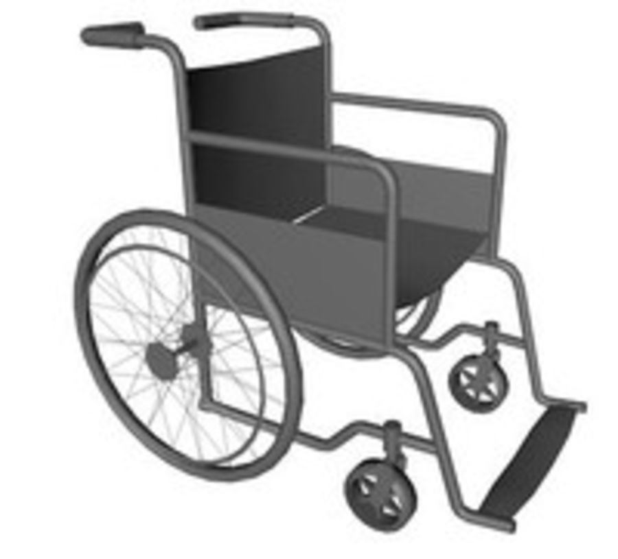 Low Poly Wheelchair royalty-free 3d model - Preview no. 3