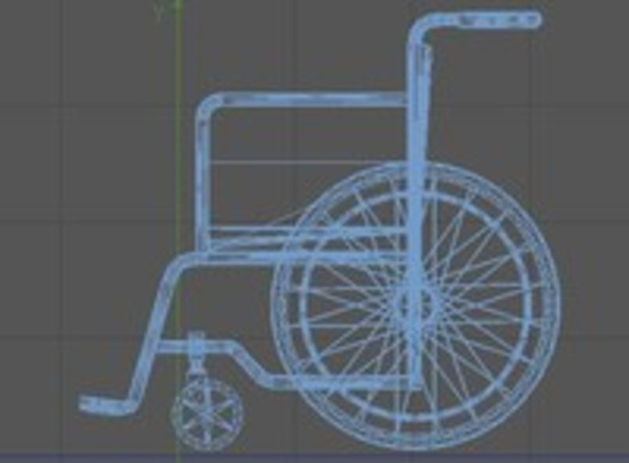 Low Poly Wheelchair royalty-free 3d model - Preview no. 6