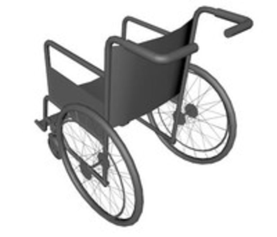Low Poly Wheelchair royalty-free 3d model - Preview no. 4
