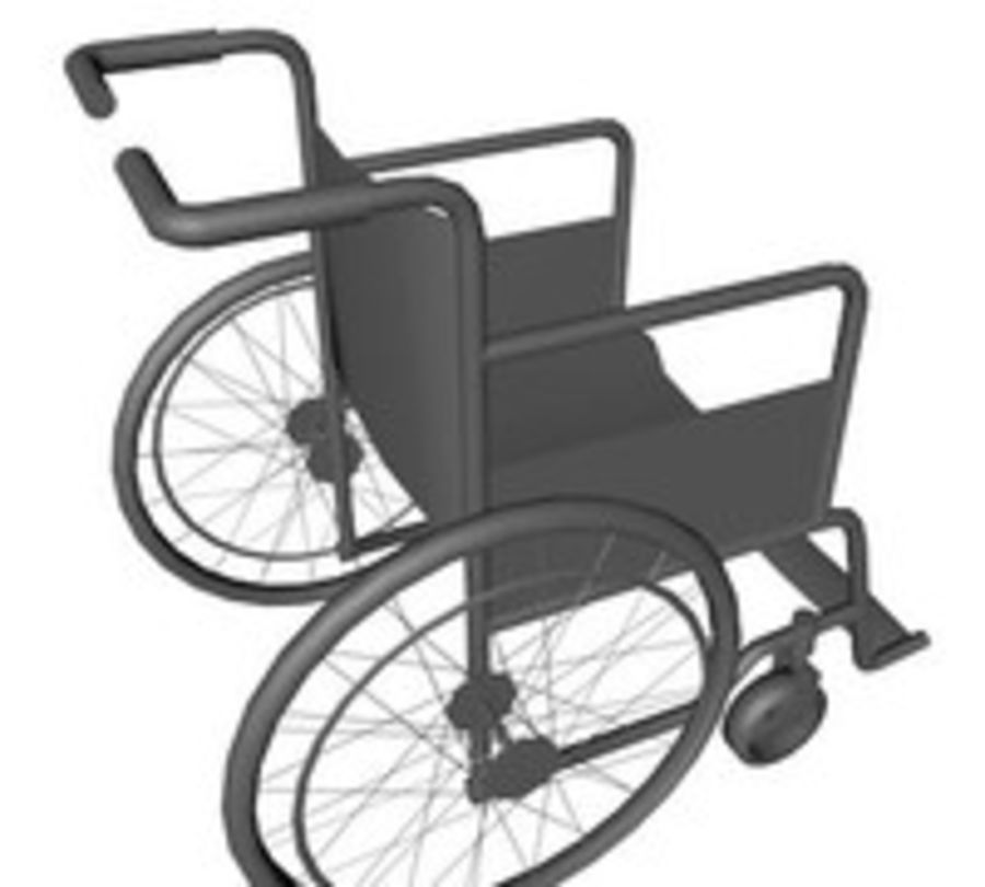 Low Poly Wheelchair royalty-free 3d model - Preview no. 7