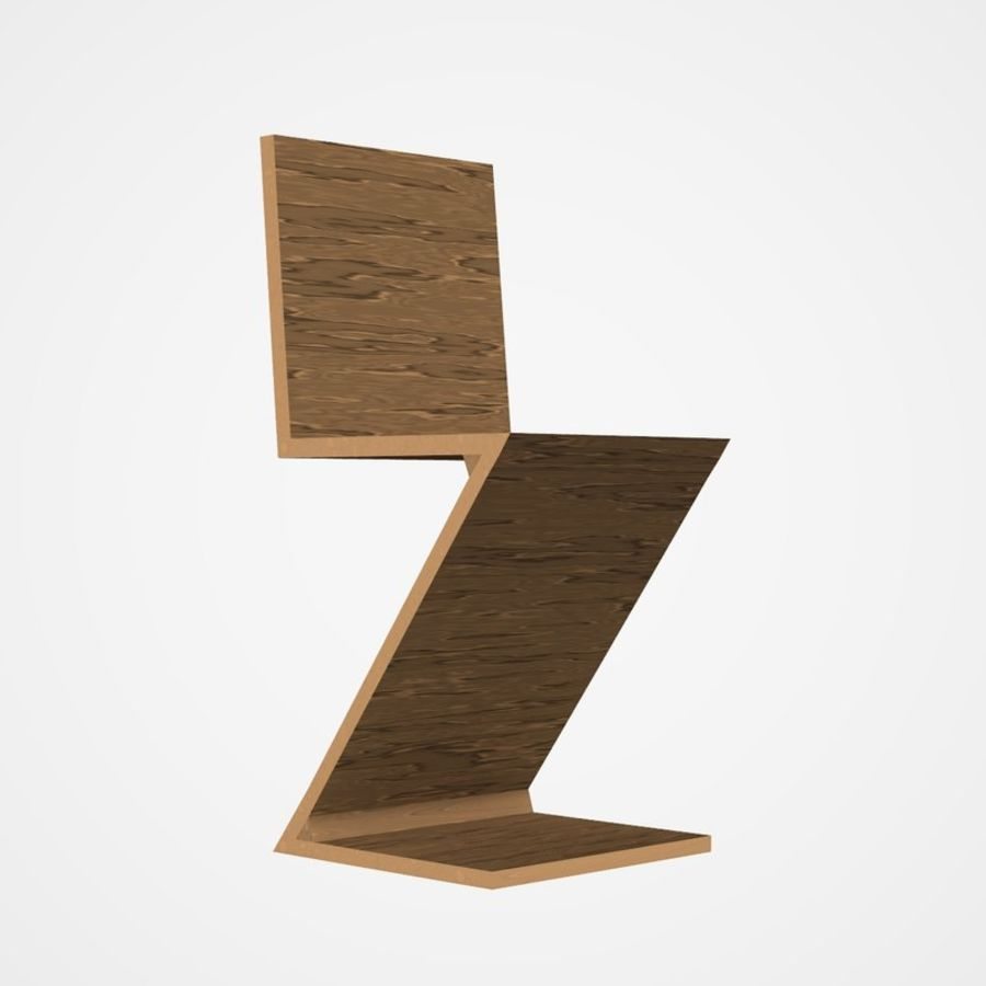 Zigzag Chair Royalty Free 3d Model   Preview No. 1