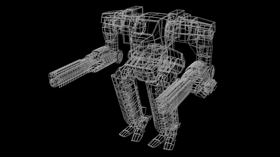 Mech robot Rigged royalty-free 3d model - Preview no. 9