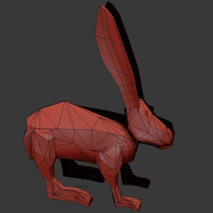 Low Poly Rabbit Game asset royalty-free 3d model - Preview no. 5