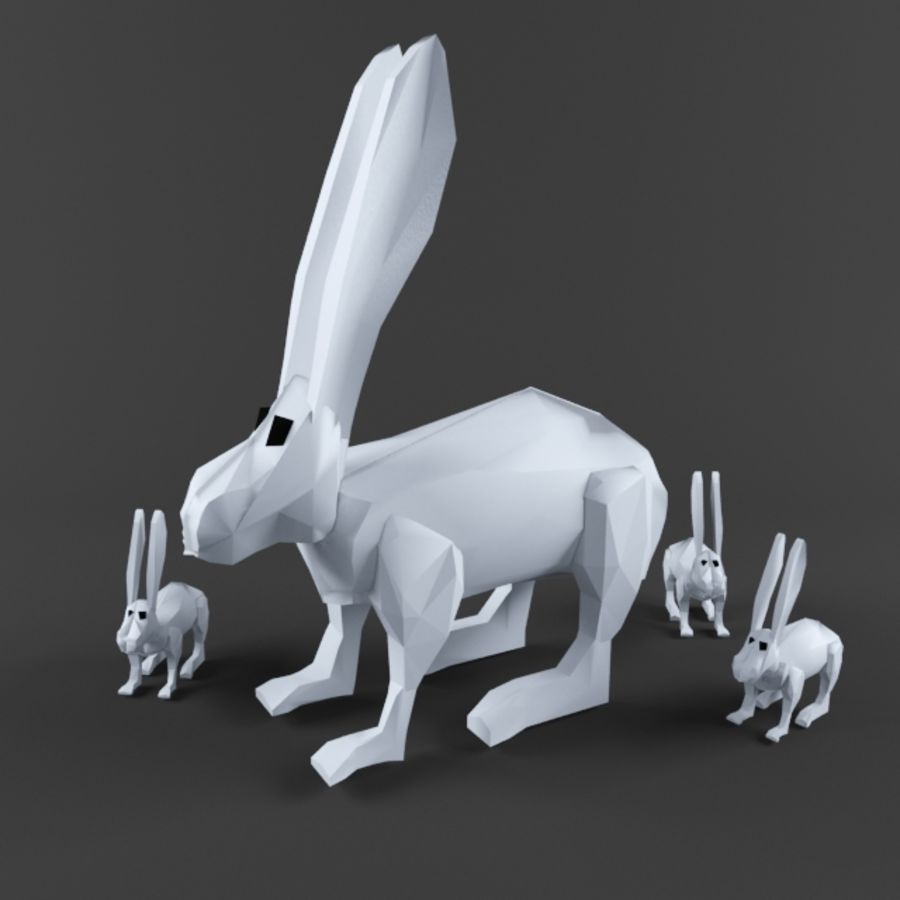 Low Poly Rabbit Game asset royalty-free 3d model - Preview no. 1