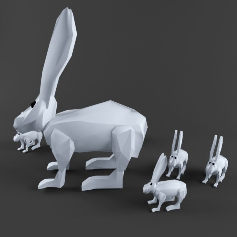 Low Poly Rabbit Game asset royalty-free 3d model - Preview no. 4